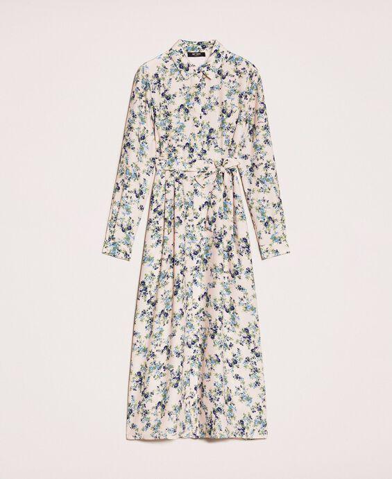 Длинное платье-рубашка с цветочным рисунком