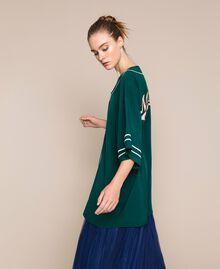 Maxi chemise en crêpe de Chine Émeraude Femme 201MP2080-02