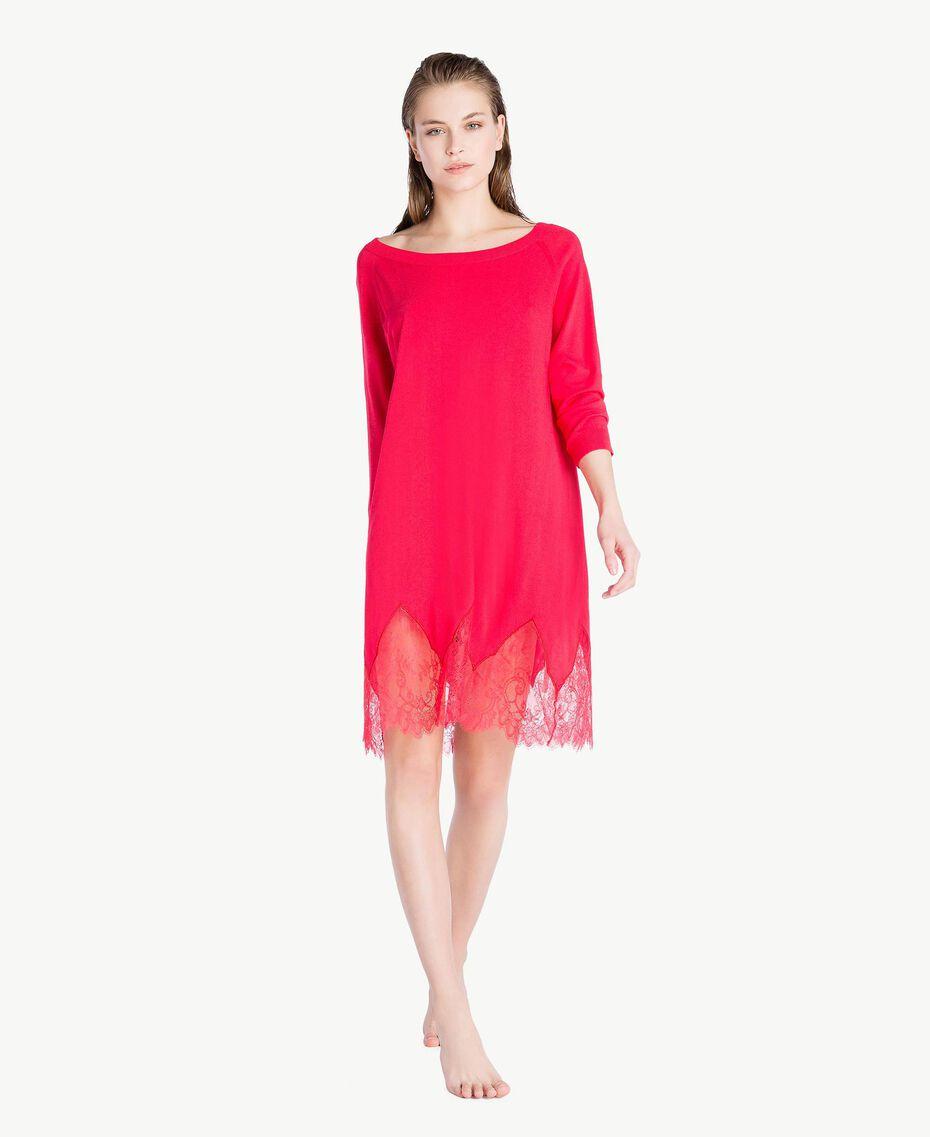 Kleid mit Spitze Kirschrot Frau LS8BPP-02