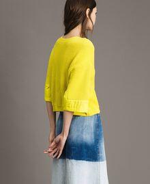 Cardigan-Pullover mit Details aus Popeline Zitronengelb Frau 191ST3060-05