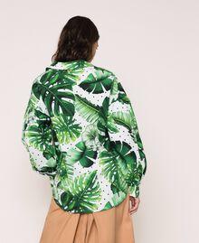 Camicia in popeline stampato Stampa Tropical Pois Verde Donna 201TP2550-03