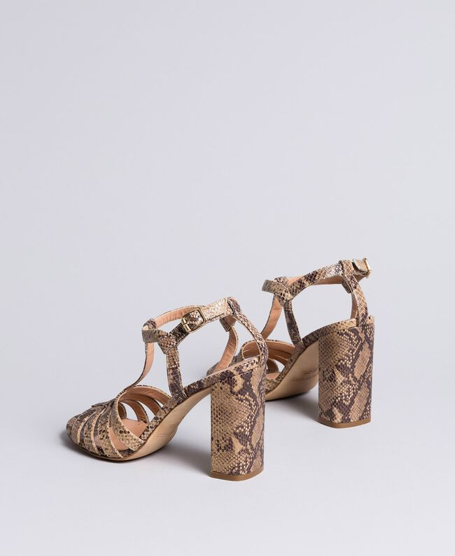 "Animal print leather sandals Brown ""Python Rock"" Woman CA8PQ3-03"