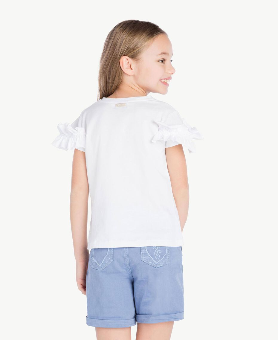 "T-shirt ruches Bianco ""Papers"" Bambina GS82KQ-04"
