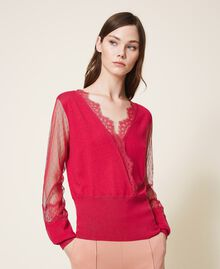 "Tulle and lace jumper ""Cerise"" Fuchsia Woman 202TP3381-01"