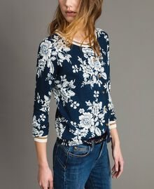 Lurex-Pullover-Cardigan mit Blumenmuster Motiv Blumen Deep Lake Frau 191ST3121-04