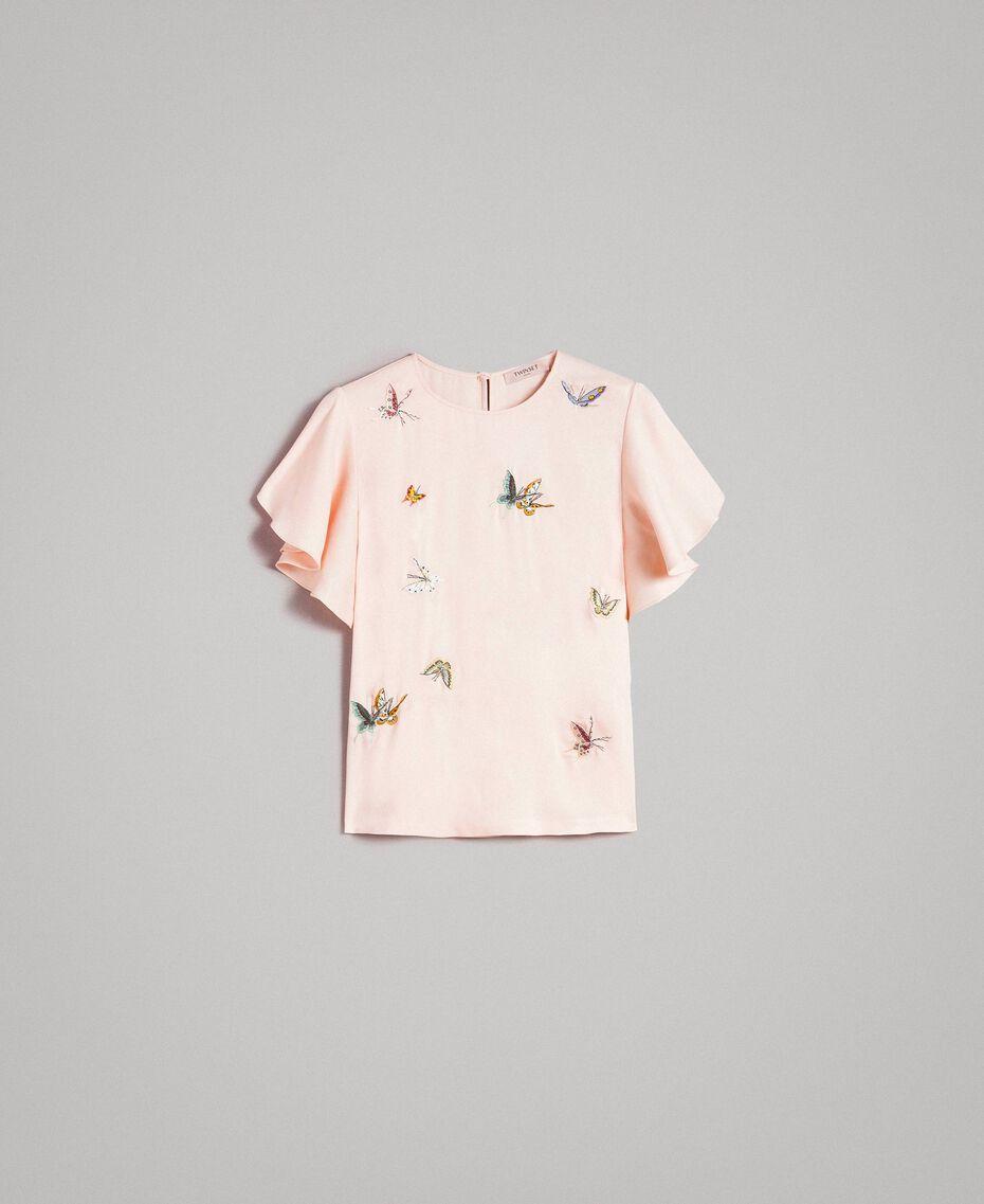 "Блуза из атласа с вышивкой бабочками ""Rose Sand"" Розовый женщина 191TT2115-0S"