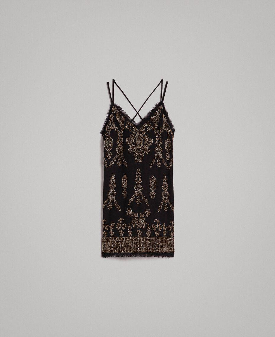 Leinen-Kleid mit Perlen und Pailletten Schwarz Frau 191TT2063-0S