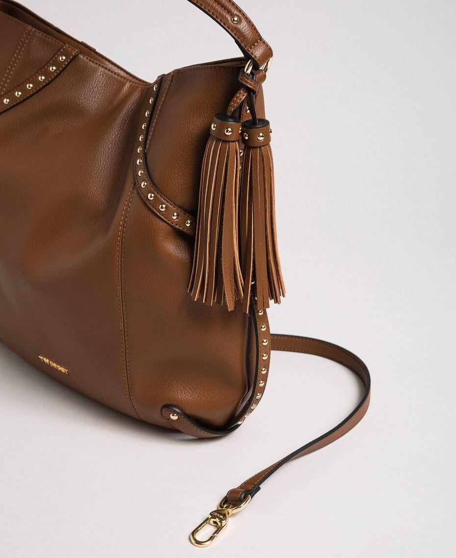 Borsa hobo in similpelle con borchie Cuoio Donna 192TO8161-02