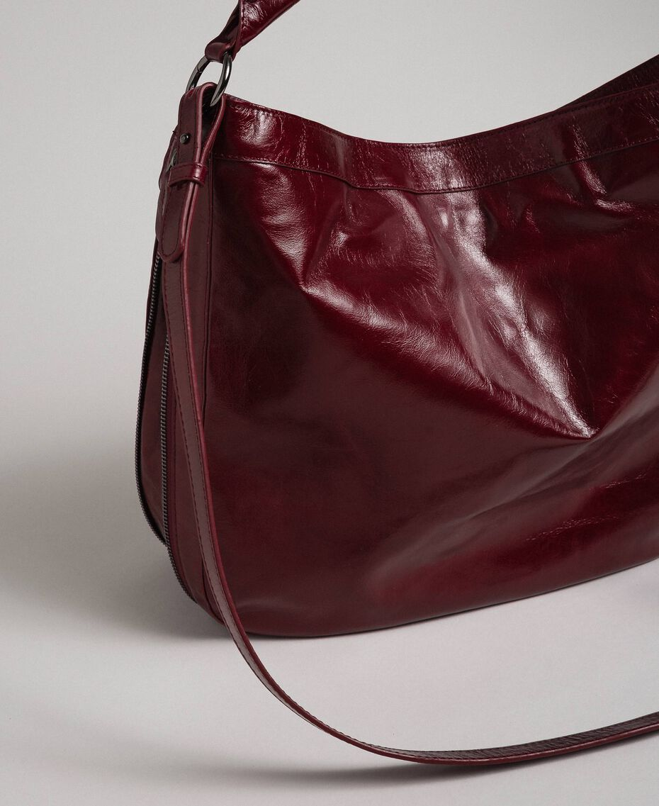 Crackled effect leather hobo bag with studs Beet Red Woman 192TA7236-03