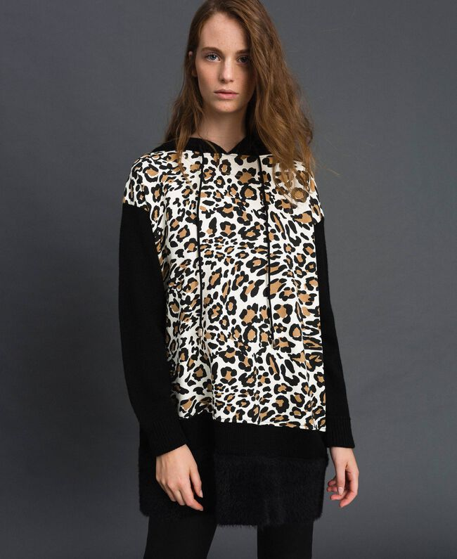 Maxi jumper with animal print Animal Print / Black Woman 192MP3030-04
