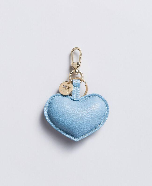 Schlüsselanhänger in Herzform aus Lederimitat Denimblau Frau RA8TJC-01
