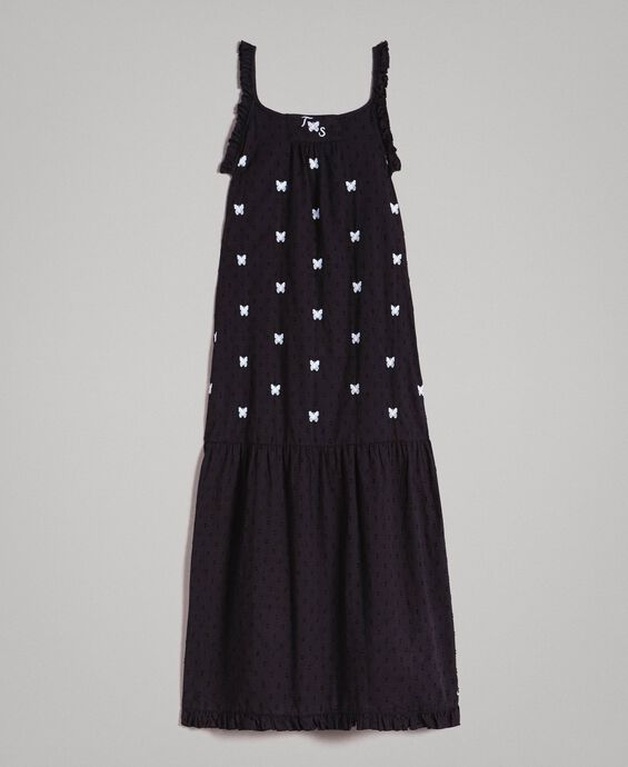 Plumetis long dress with embroideries