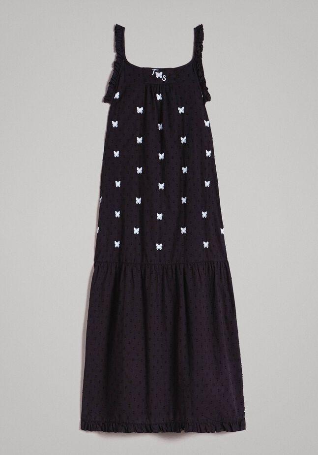 Robe longue en plumetis avec broderies