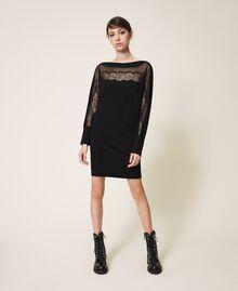 Vestido de punto con tul y encaje Negro Mujer 202TP3380-01