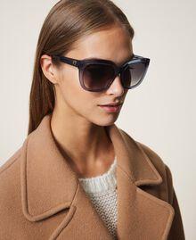 Eckige Sonnenbrille Grau / HellBlau Frau 999TZ4012-0S