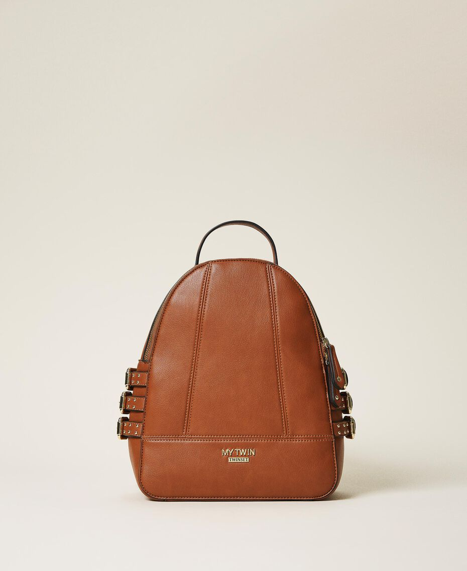 Faux leather backpack with straps Leather Brown Woman 202MA7042-02