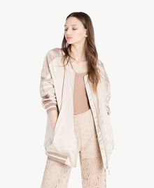 """Satin bomber Two-tone """"Rope"""" Beige / """"Amphora"""" Brown Woman SS82EA-01"""
