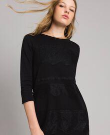 Robe en molleton avec dentelle Noir Femme 191MP2325-01