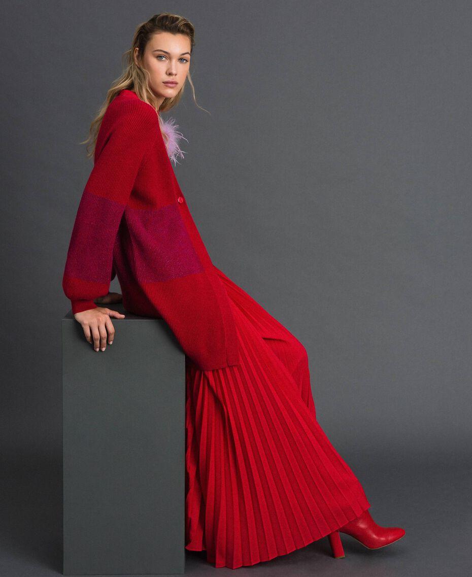 Maxi cardigan avec bande en lurex et broche Rayé Rouge «Samba» / Violet Femme 192ST3081-01