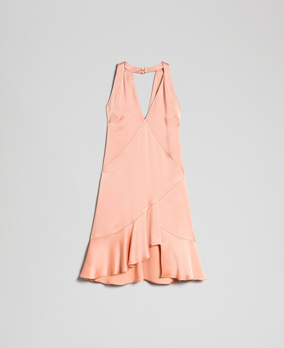 "Satin dress with asymmetric tailoring ""Nude Pink"" Woman 192TT2295-0S"
