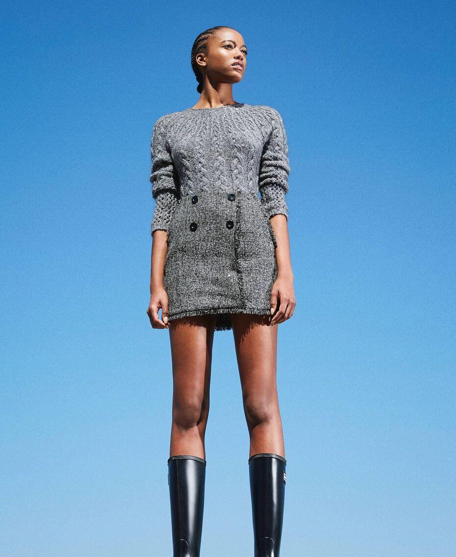 Mini-jupe en tissu bouclé avec sequins Noir Femme 202MT218B-01