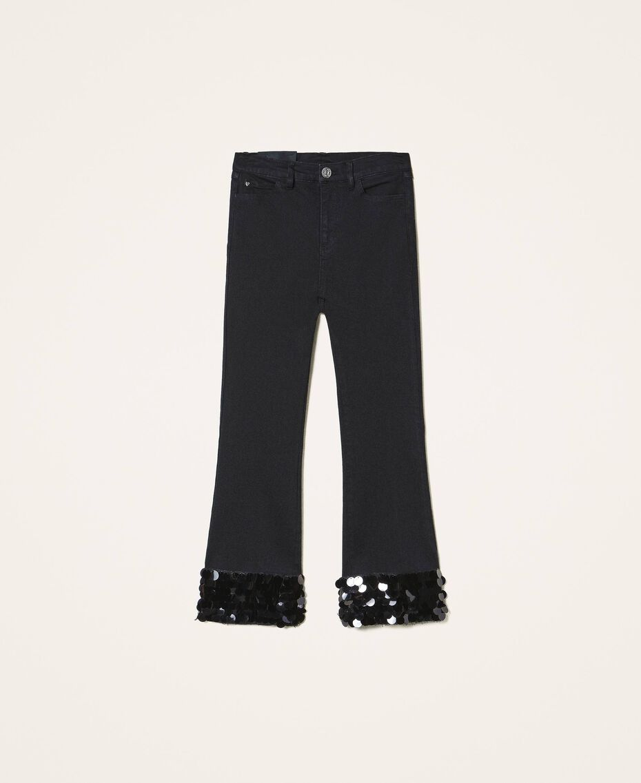 Flared jeans with sequins Black Woman 202MT2124-0S
