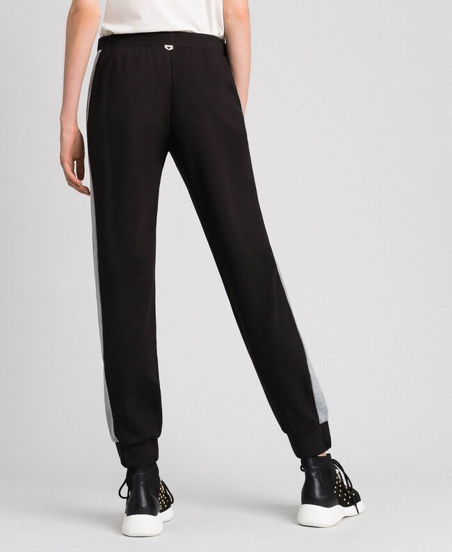 Pantalon de jogging avec bandes contrastées Noir / Gris Chiné Femme 192LI2HDD-03