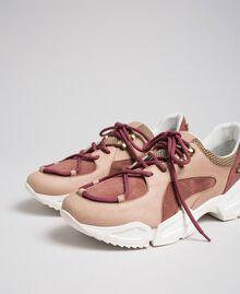 Chaussures de running en cuir avec strass Rose «Rose Nude» Femme 192TCT112-01