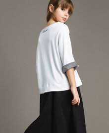 Sweat shirt au point de Milan avec détails en vichy Bicolore Blanc Optique / Vichy Enfant 191GJ2732-03