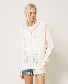 """Plush fabric cardigan with logo inserts Two-tone """"Snow"""" White / """"Off White"""" Woman 211TT3240-05"""