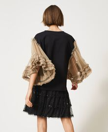 """T-shirt with print and tulle sleeves Two-tone Black / """"Biscuit"""" Brown Moon Print Woman 211MT2491-04"""