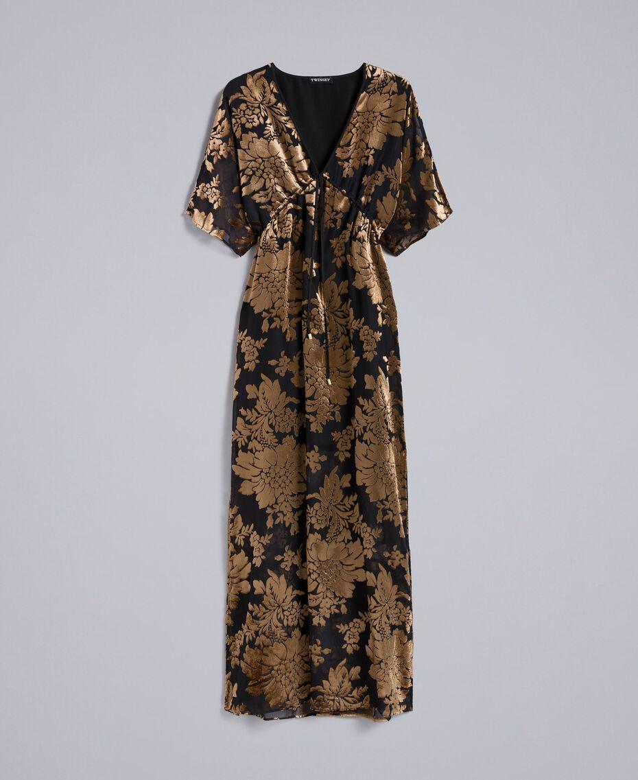 Robe longue en velours dévoré Camel Dévoré Femme PA82M4-0S