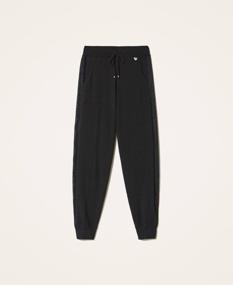 Pantalon de jogging en maille avec dentelle Noir Femme 202TP3384-0S