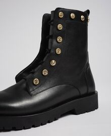 Leather combat boots with stones Black Woman 192TCP01N-05