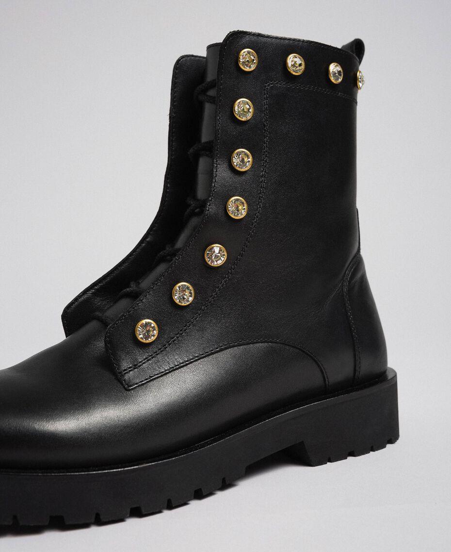 Кожаные ботинки-амфибии с шатонами Черный женщина 192TCP01N-05