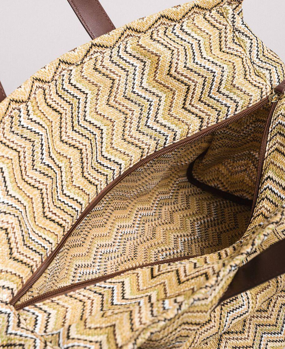 """Übergroße Einkaufstasche mit Stroh-Effekt Multicolour """"Milkyway"""" Beige / """"Petra Sandstone"""" Braun / Elfenbein Frau 191LM4ZCC-05"""