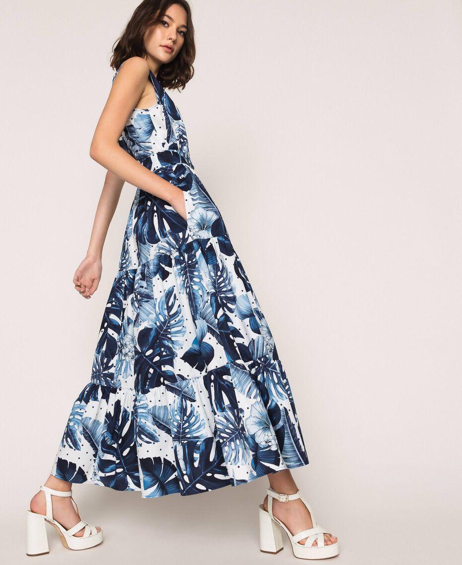 Длинное платье из набивного поплина Принт Тропический Горошек Синий / Виши женщина 201TP2552-02