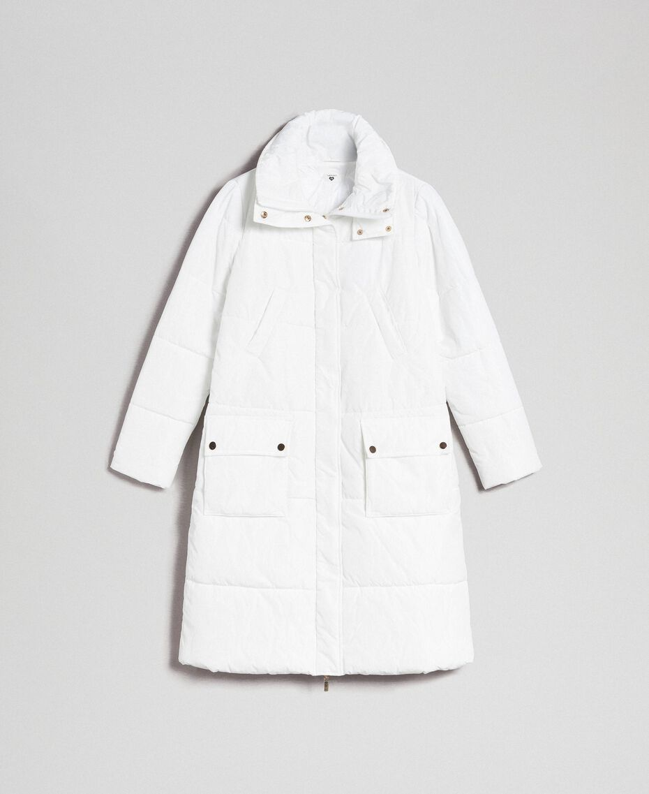 Long puffer jacket with high neck Ivory Woman 192LI2JAA-0S