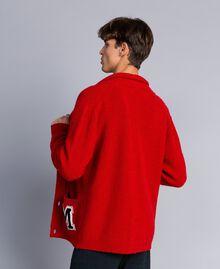 Cardigan in lana e alpaca Rosso Papavero Uomo UA83DB-04