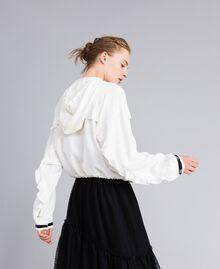 Jacke aus Georgette mit Rüschen Weiß Schnee Frau PA82HA-02