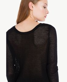 Mesh stitch mandarin collar top Black Female PA73LA-04