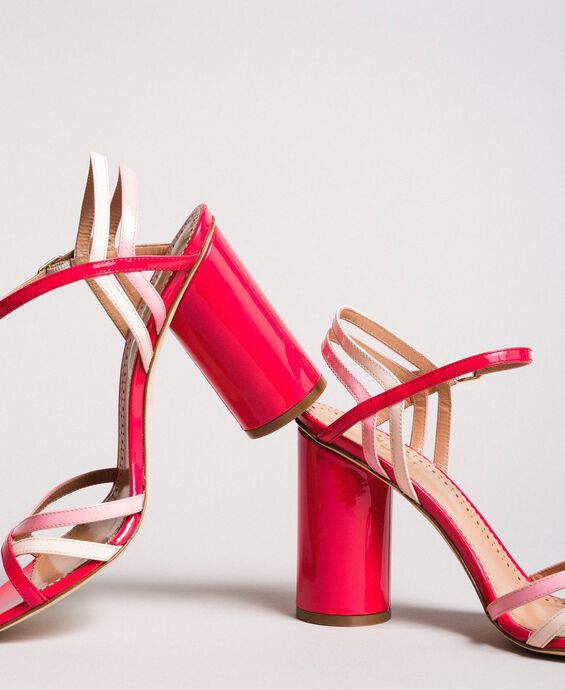 Patent leather sandals with strap