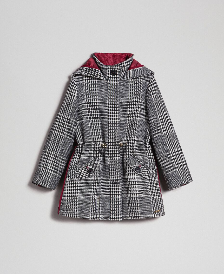 Houndstooth wool blend parka coat White / Black Houndstooth Child 192GJ2110-0S
