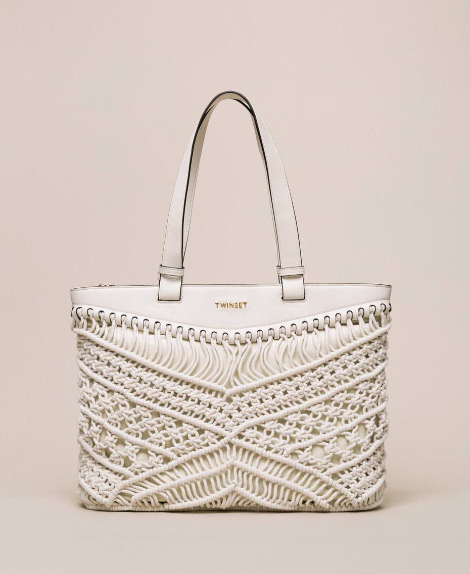 Borsa shopper in crochet Bianco Antique White Donna 201TO8130-01