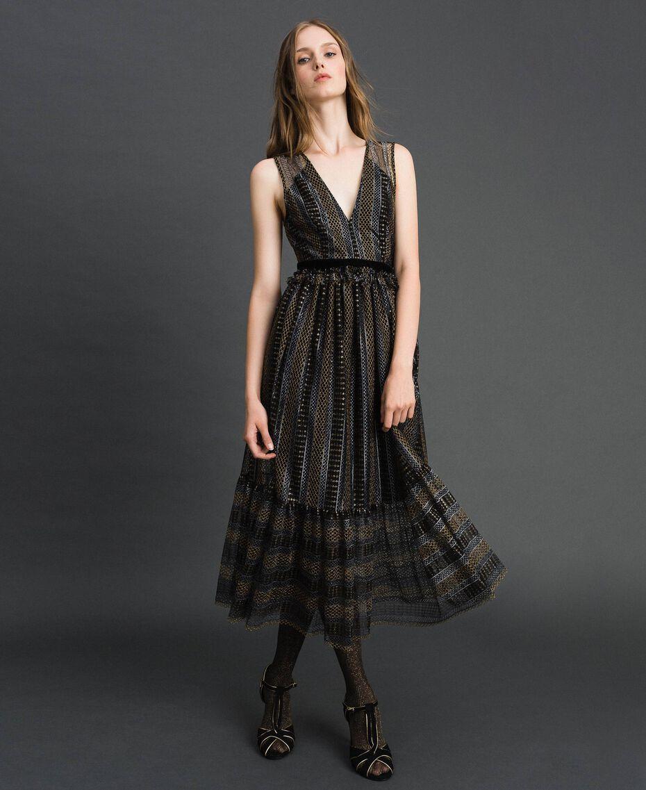 Кружевное платье-миди с люрексом Черный женщина 192TT2361-01