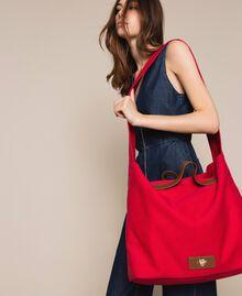 Canvas shopper with shoulder strap True Red Woman 201LM7ZKK-0S