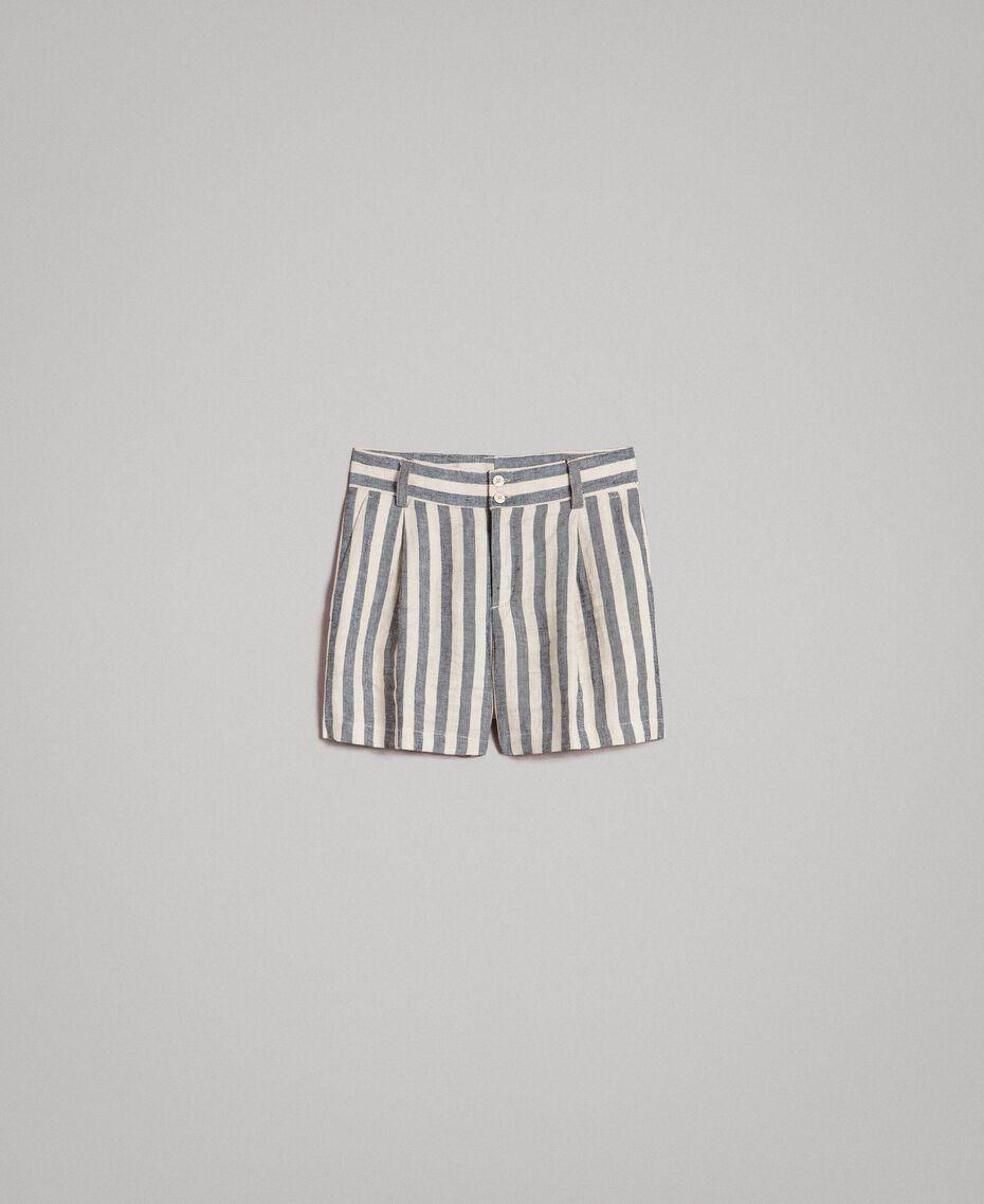 """Short en lin à rayures bicolores Bicolore Noir / Beige """"Pâte d'Amande"""" Femme 191TT2312-0S"""