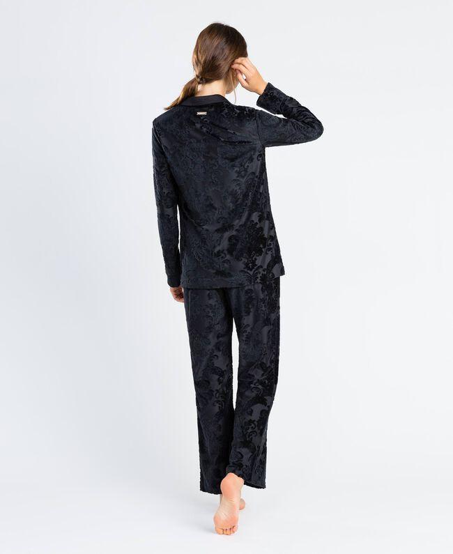 Pantalon en velours jacquard dévoré Noir Femme LA8JEE-03