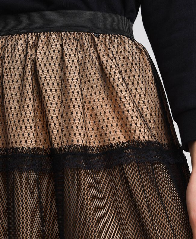 Tulle, Valenciennes lace and plumetis skirt Two-tone Black / Nude Woman 192TP2333-04