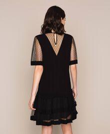 Платье из крепдешина и тюля плюмети Черный женщина 201TP2371-03